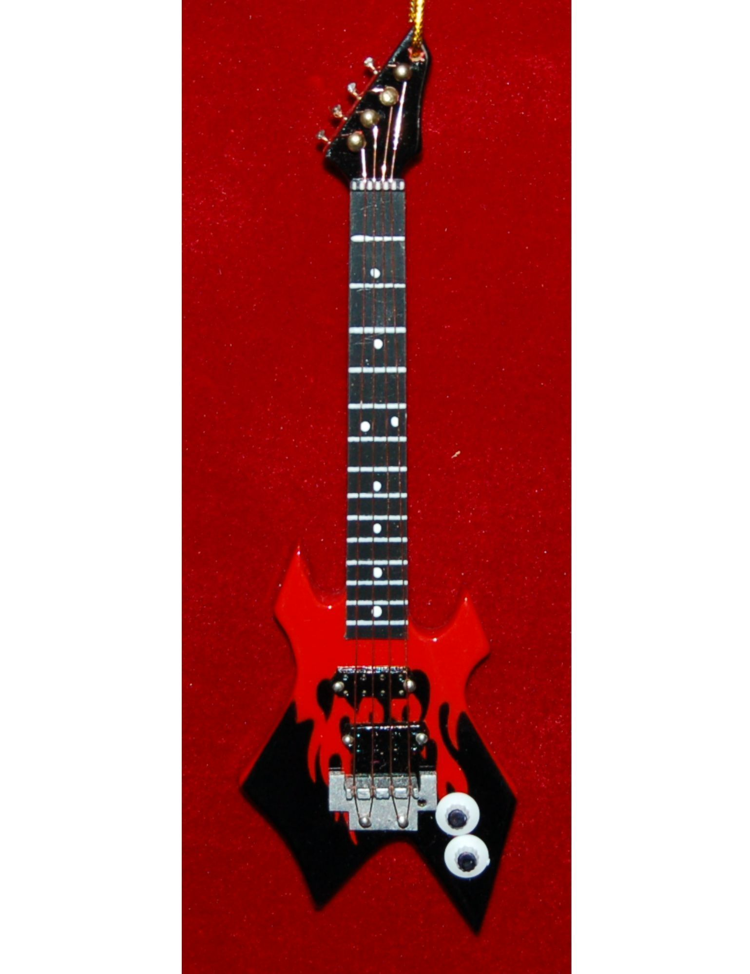 Red Warlock Axe Bass Guitar Christmas Ornament Personalized by Russell Rhodes