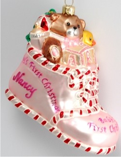 Baby Delights Pink Bootie Glass Personalized Christmas Ornament