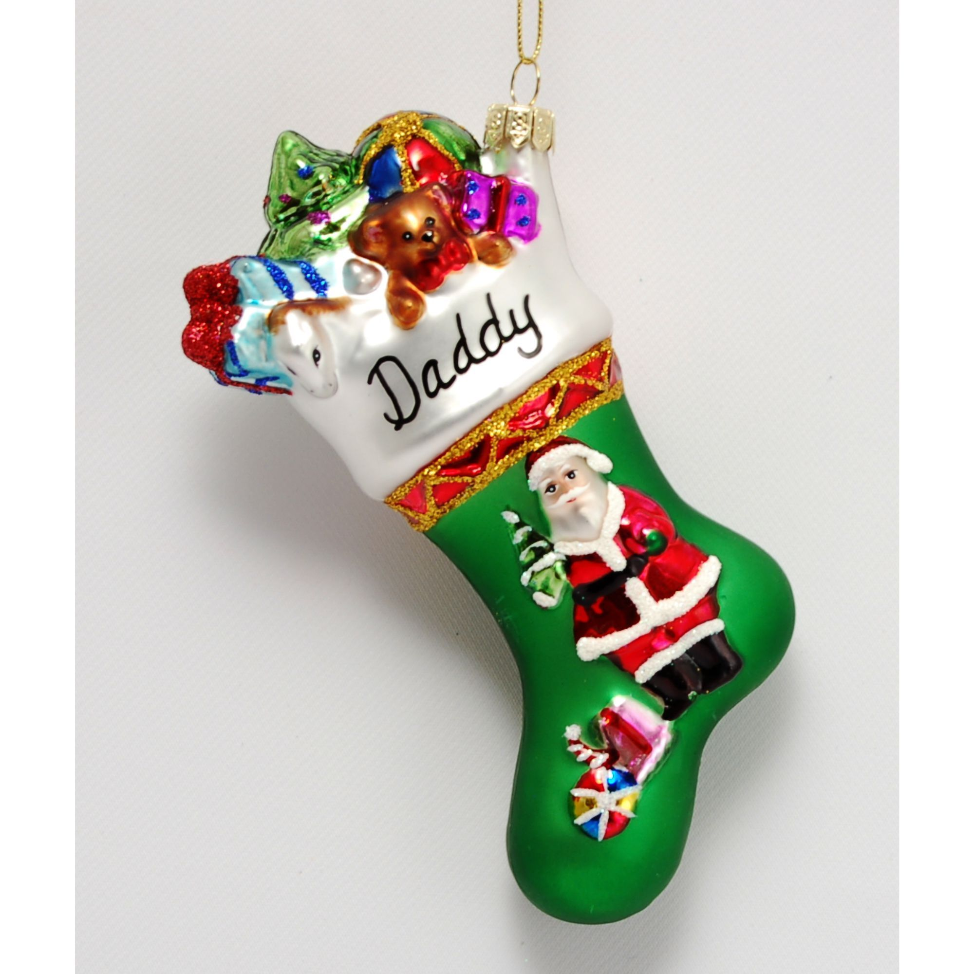 Family Collection Santa Claus Stocking Glass Christmas Ornament Personalized by Russell Rhodes