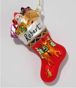 Family Collection Reindeer Stocking Glass Personalized Christmas Ornament