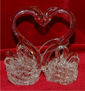 Kissing Swans Spun Glass Romantic Ornament