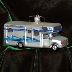 Class C Motor Home Glass Christmas Ornament