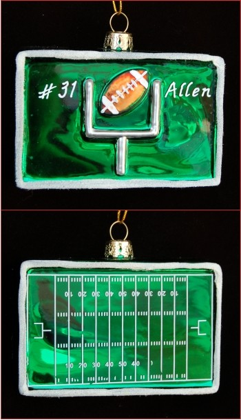 Football Field, Goal, & Ball Personalized Glass Christmas Ornament