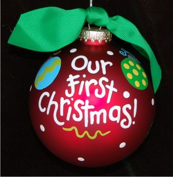 Hand Painted Our First Christmas | Hand Personalized Christmas ...