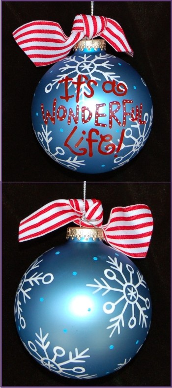 Hand Painted It's a Wonderful Life Grandkids Glass Christmas Ornament
