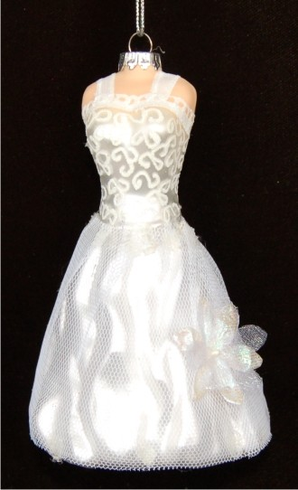 White-on-White Elegant Wedding Gown Personalized Christmas Ornament