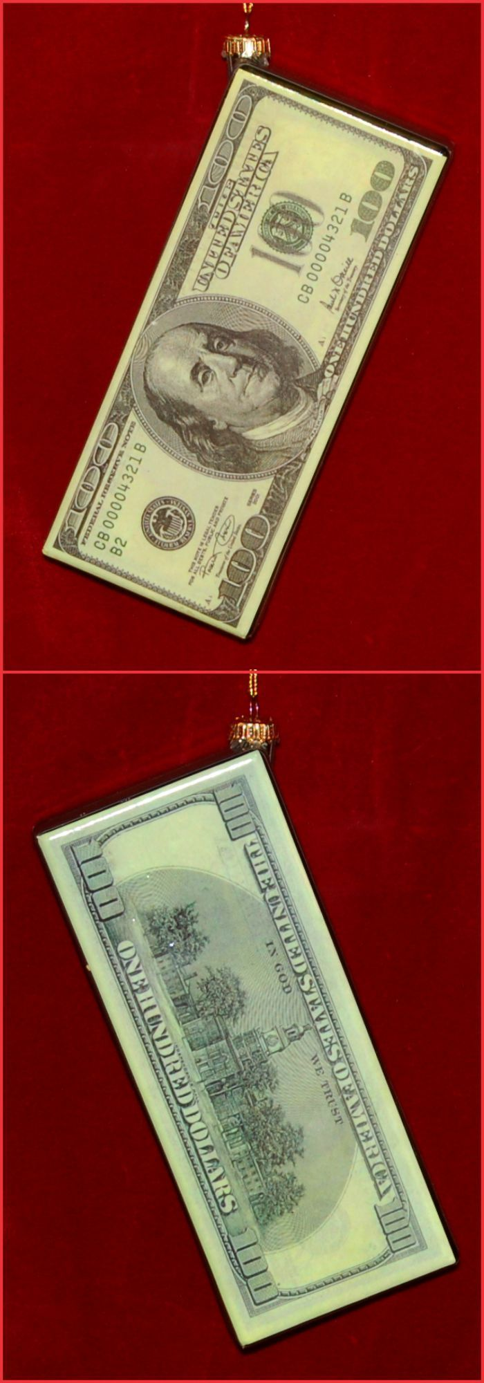 Hundred Dollar Bill Christmas Ornament Personalized by Russell Rhodes