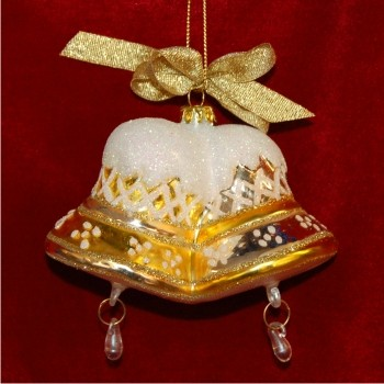 Gold Bells Glass Christmas Ornament Personalized by Russell Rhodes