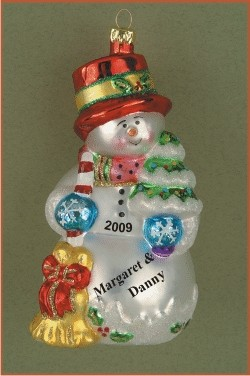 Frosty Fun for Two Glass Christmas Ornament