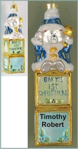 Blue Blocks Cuddly Bear for Baby's First Glass Christmas Ornament Personalized by Russell Rhodes