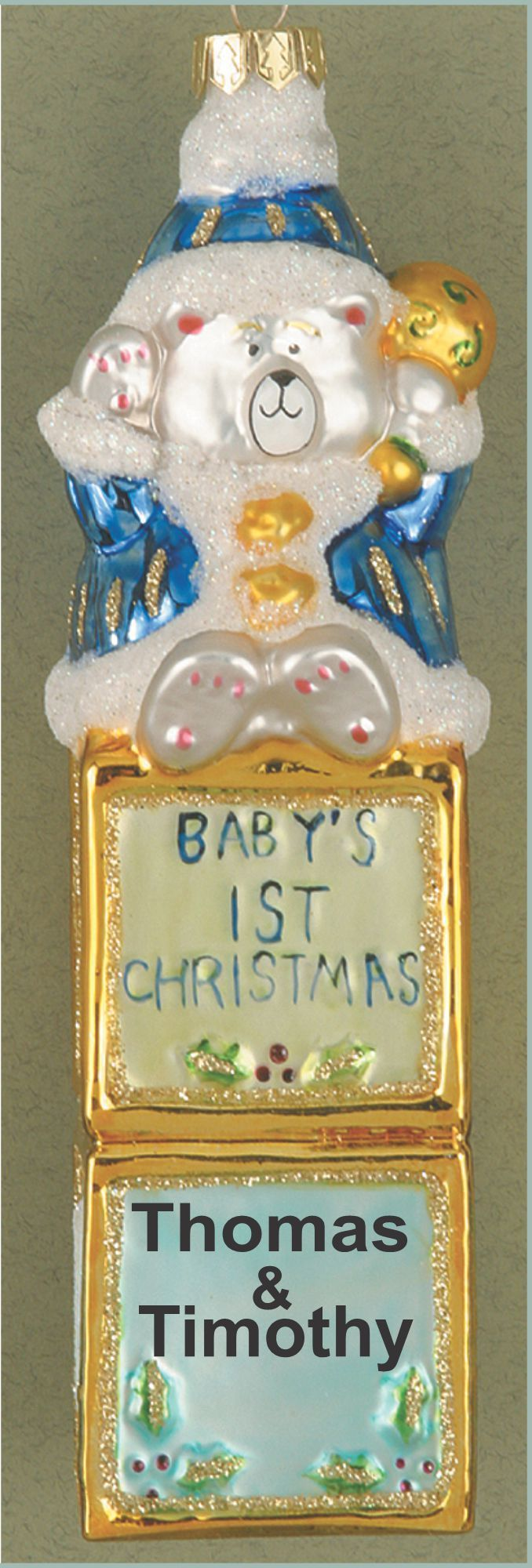 Blue Blocks Twins' First Glass Christmas Ornament Personalized by Russell Rhodes