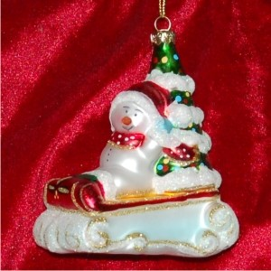 Baby's First Christmas Sled, Glass Personalized Christmas Ornament