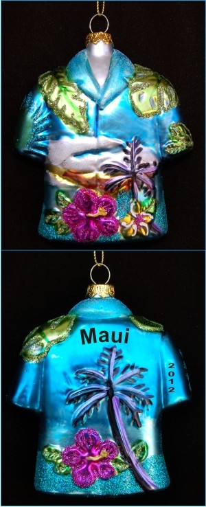 Tropical Paradise Shirt Personalized Glass Ornament