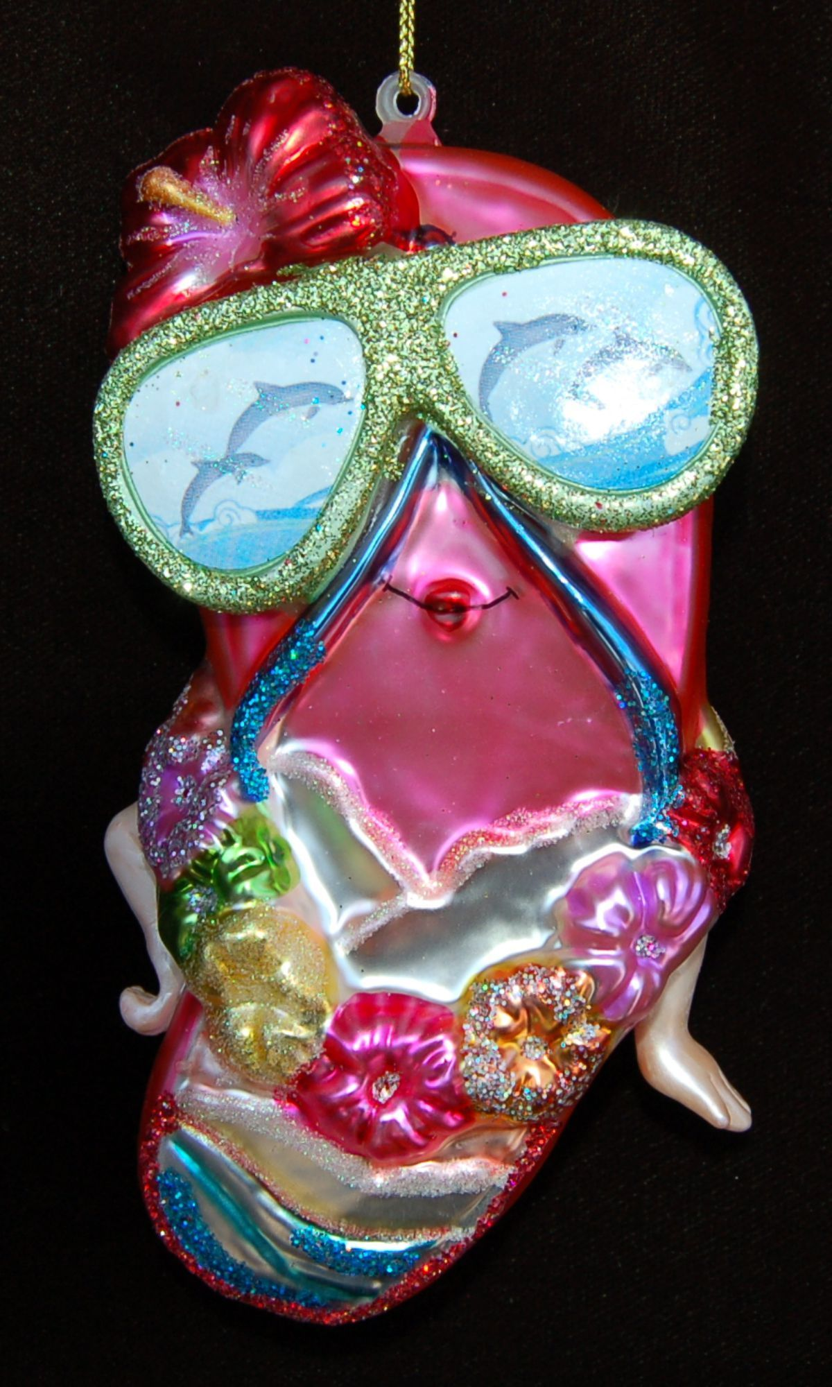 Flip Flop Kind of Girl Glass Christmas Ornament Personalized by Russell Rhodes