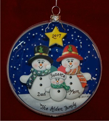 Snow Delightful Family of 3 Glass Christmas Ornament Personalized by Russell Rhodes