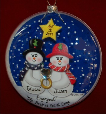 Special Christmas Ornaments.Snow Delightful Couple Engaged Glass Christmas Ornament