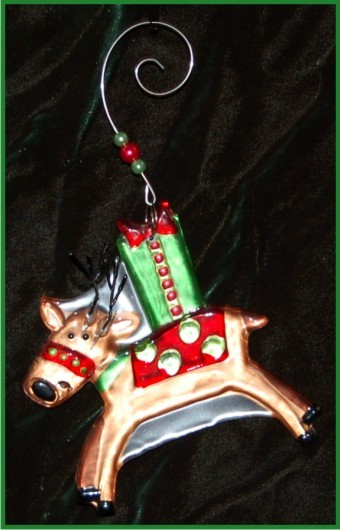 Reindeer with Gifts Fused Glass Christmas Ornament