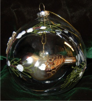 Forest Finch Inside Glass Dome for Grandparents Christmas Ornament Personalized by Russell Rhodes
