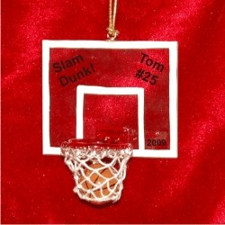 Basketball Slam Dunk Glass Personalized Christmas Ornament