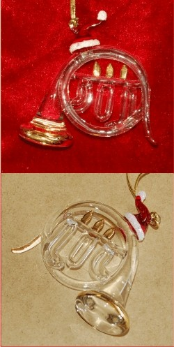 French Horn Hand Blown Glass Christmas Ornament