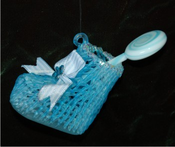 Spun Glass Baby Bootie with Lolli Pop for Baby Boy Christmas Ornament Personalized by Russell Rhodes