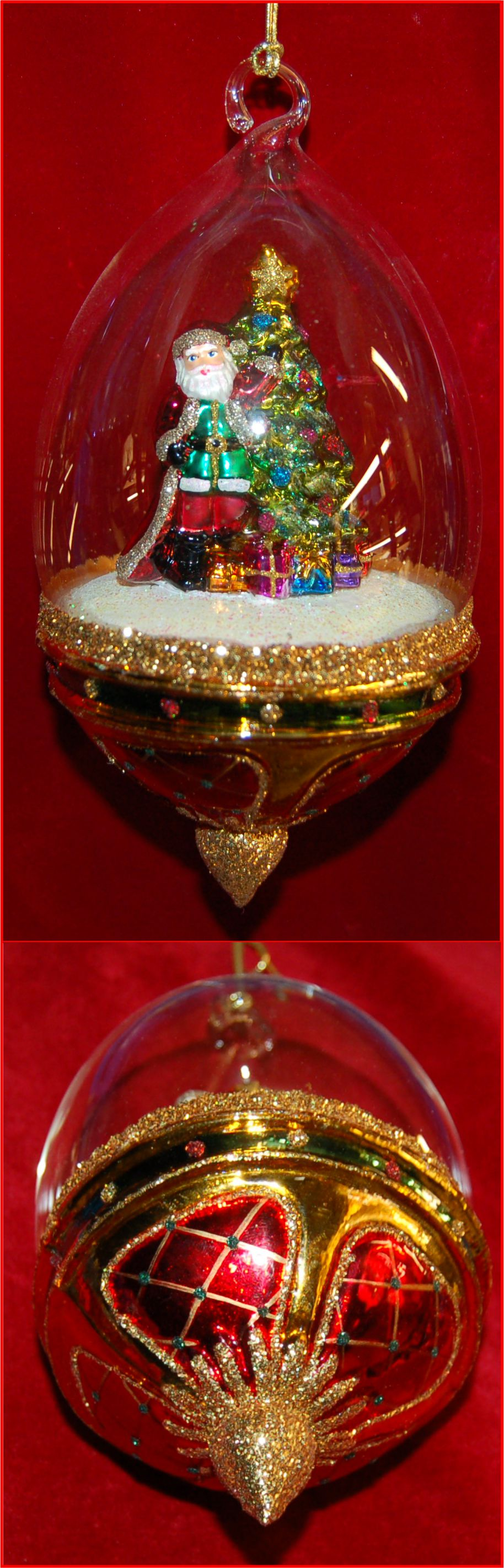 Santa Christmas Ornament Hand Blown Dome Personalized FREE by Russell Rhodes