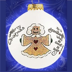 My Sweet Granddaughter Glass Personalized Christmas Ornament