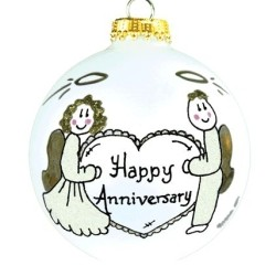 Anniversary Glass Ball Personalized Christmas Ornament