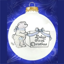 Boy Baby's First Christmas Baby Bear Glass Personalized Christmas Ornament