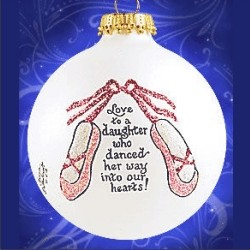 Daughter Dances Glass Personalized Christmas Ornament