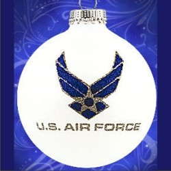 Air Force Glass Ball Christmas Ornament Personalized by Russell Rhodes