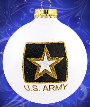 Army Strong Glass Ball Christmas Ornament Personalized by Russell Rhodes