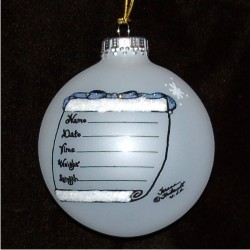 Baby Boy's Arrival Glass Personalized Christmas Ornament