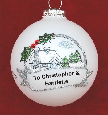 Christmas Cottage Gift for Couple Christmas Ornament Personalized by Russell Rhodes