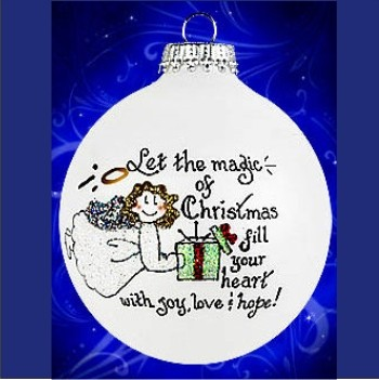 With Love at Christmastime Glass Personalized Christmas Ornament