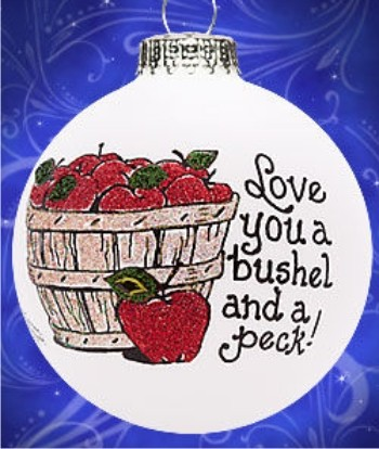 I Love You a Bushel & a Peck - 2 Grandchildren Christmas Ornament