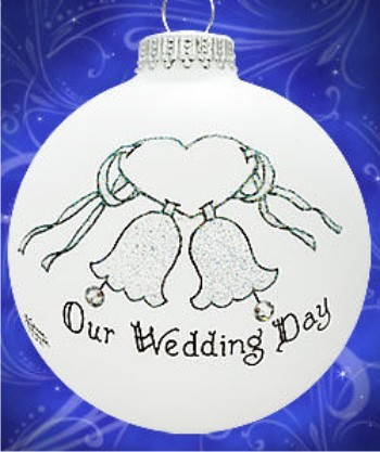 Our Wedding Day with Crystals Christmas Ornament Personalized by Russell Rhodes