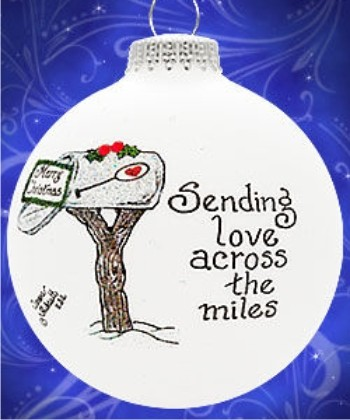 Across the Miles Glass Ball Personalized Christmas Ornament