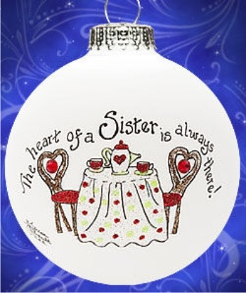 Heart to Heart Much Loved Sister Personalized Christmas Ornament