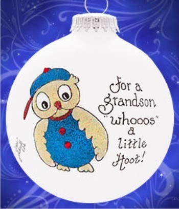 My Grandson - What a Hoot! Personalized Glass Ornament