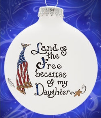 Free & Brave - My Daughter Personalized Glass Ornament