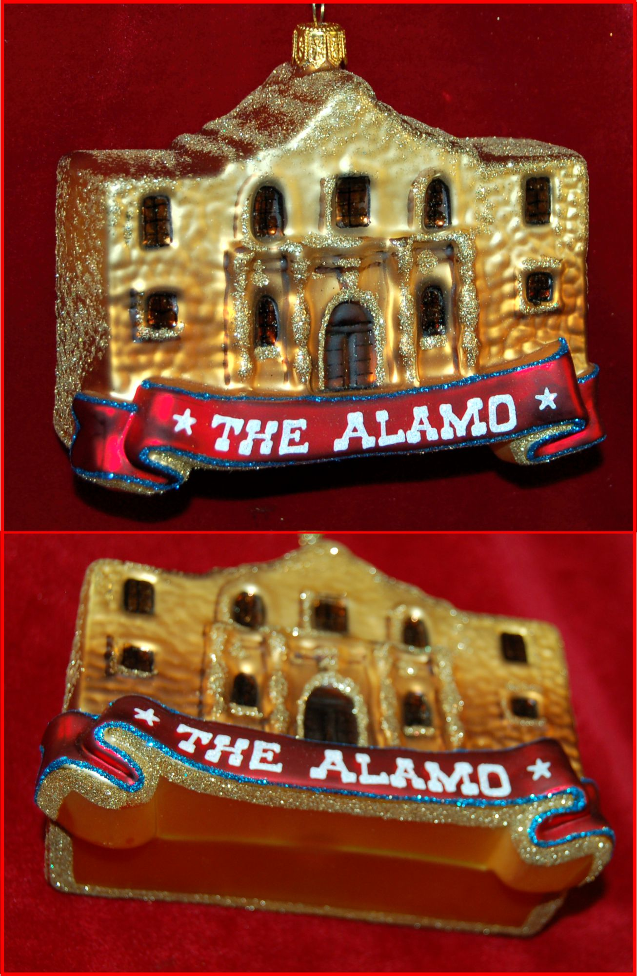 The Alamo Christmas Ornament Polish Glass Personalized by Russell Rhodes