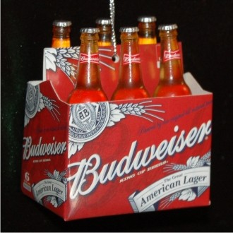 Six Pack of Bud Christmas Ornament Personalized by Russell Rhodes