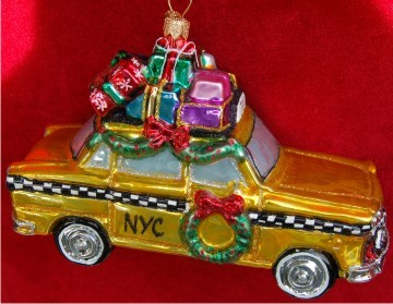 Straight from Poland: New York Taxi Christmas Ornament Personalized