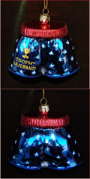 Trophy Husband Boxer Shorts Personalized Christmas Ornament