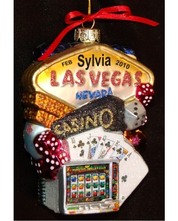Funtastic Las Vegas Glass | Hand Personalized Christmas Ornaments by Russell Rhodes
