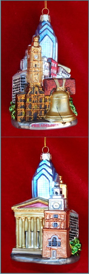 Cheese Steak Fame: Phildelphia Citycape Personalized Christmas Ornament