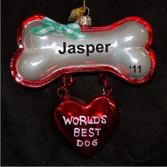 World's Best Dog Glass Personalized Christmas Ornament