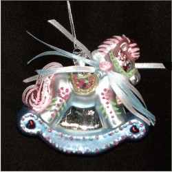 Baby's First Christmas Rocking Horse Glass Christmas Ornament