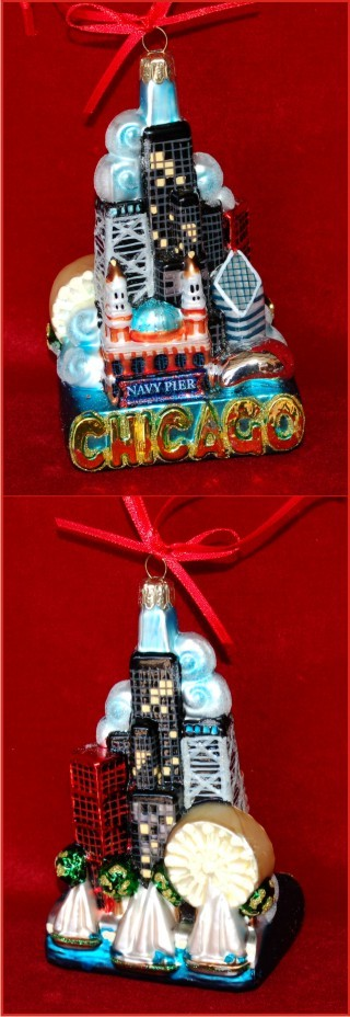 Chicago Cityscape Personalized Christmas Ornament Personalized by Russell Rhodes